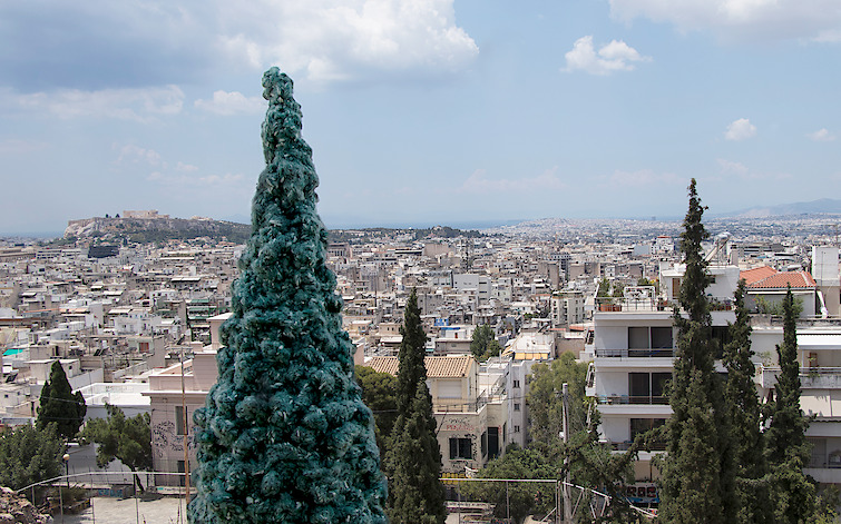 Gwen MacGregor: Treelines Greece #1, 2019, colour photograph (with crocheted trees in situ)