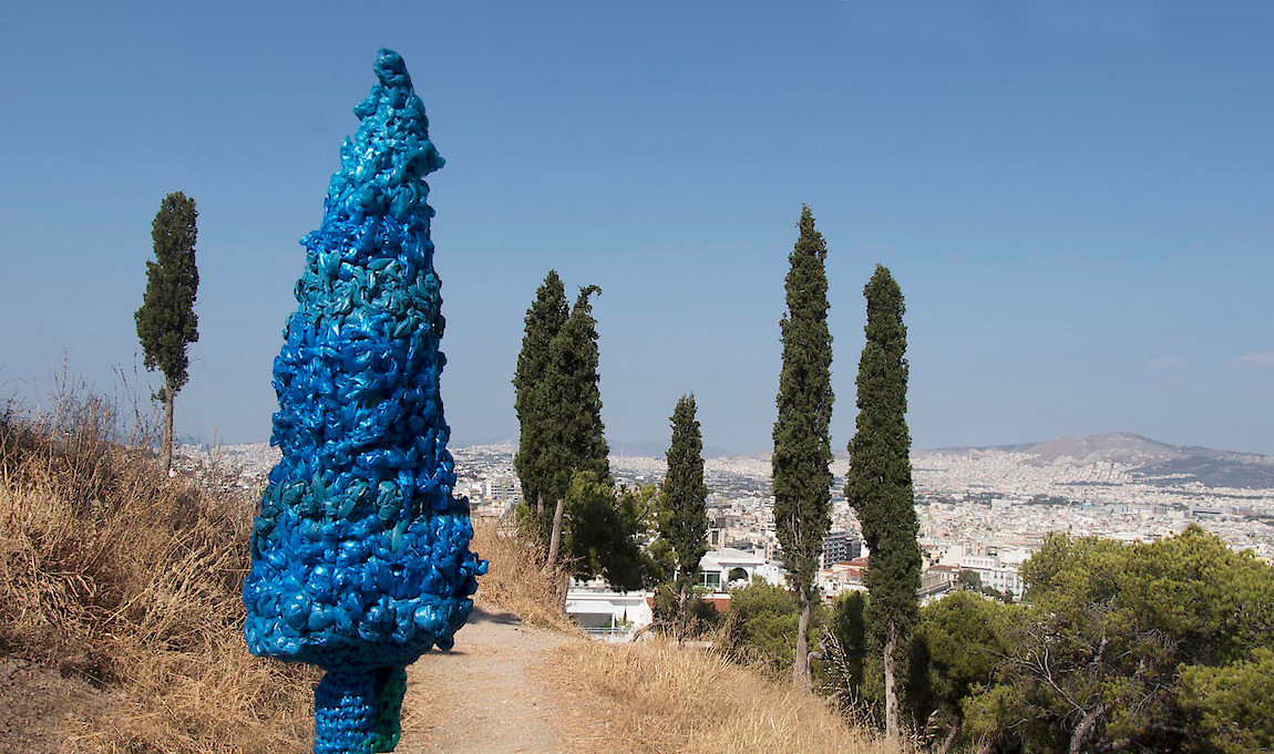 Gwen MacGregor: Treelines Greece #6, 2019, 2019, colour photograph (with crocheted trees in situ)