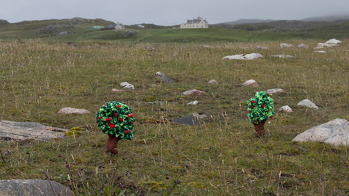 Gwen MacGregor: Treelines Outer Hebrides #4, 2018, colour photograph (with crocheted trees in situ)