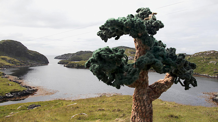 Gwen MacGregor: Treelines Outer Hebrides #1, 2019, colour photograph (with crocheted trees in situ)